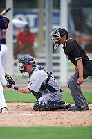GCL Rays catcher Justin O'Conner (13) and umpire Kelvis Velez await the pitch during the first game of a doubleheader against the GCL Red Sox on August 9, 2016 at JetBlue Park in Fort Myers, Florida.  GCL Rays defeated GCL Red Sox 5-4.  (Mike Janes/Four Seam Images)