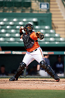 Baltimore Orioles catcher Jean Carrillo (75) throws down to second base during an Instructional League game against the Atlanta Braves on September 25, 2017 at Ed Smith Stadium in Sarasota, Florida.  (Mike Janes/Four Seam Images)