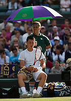 01-07-13, England, London,  AELTC, Wimbledon, Tennis, Wimbledon 2013, Day seven, Bernard Tomic (AUS)<br /> <br /> <br /> <br /> Photo: Henk Koster
