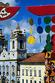 Salvador, Bahia State, Brazil; colonial buildings in Pelourinho with carnival decorations.