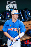Florida Gators second baseman Dalton Guthrie (5) before Game 13 of the NCAA College World Series against the Virginia Cavaliers  on June 20, 2015 at TD Ameritrade Park in Omaha, Nebraska. The Cavaliers beat the Gators 5-4. (Andrew Woolley/Four Seam Images)