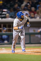 Jaff Decker (4) of the Durham Bulls hustles down the first base line against the Charlotte Knights at BB&T BallPark on April 14, 2016 in Charlotte, North Carolina.  The Bulls defeated the Knights 2-0.  (Brian Westerholt/Four Seam Images)