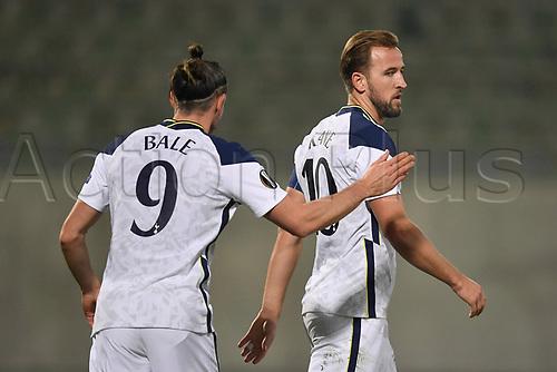 5th November 2020; RAZGRAD, BULGARIA; UEFA Europa League football, group stages;  Ludogorets Razgrad versus Tottenham Hotspur;  Gareth Bale congratulates Harry Kane of Tottenham after Kane scored his goal