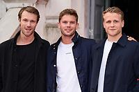 "Hugh Skinner, Josh Dylan and Jeremy Irvine<br /> arriving for the premiere of ""The Wife"" at Somerset House, London<br /> <br /> ©Ash Knotek  D3418  09/08/2018"