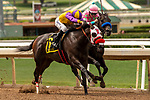 ARCADIA, CA  JUNE 16: #6 Ollie's Candy, ridden by Kent Desormeaux, and #1 Thirteen Squared, ridden by Tyler Baze, in the stretch of the Summertime Oaks (Grade ll) on June 16, 2018 at Santa Anita Park in Arcadia, CA. (Photo by Casey Phillips/Eclipse Sportswire/Getty Images)