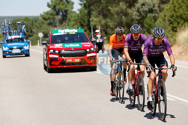 The breakaway with Angel Madrazo Ruiz and Carlos Canal (ESP) Burgos-BH and Joan Bou (ESP) Euskaltel-Euskadi during Stage 4 of La Vuelta d'Espana 2021, running 163.9km from Burgo de Osma to Molina de Aragon, Spain. 17th August 2021.    <br /> Picture: Luis Angel Gomez/Photogomezsport   Cyclefile<br /> <br /> All photos usage must carry mandatory copyright credit (© Cyclefile   Luis Angel Gomez/Photogomezsport)