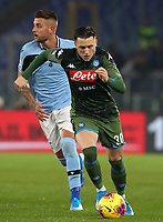 Football, Serie A: S.S. Lazio - Napoli, Olympic stadium, Rome, January 11, 2020.<br /> Napoli's Piotr Zielinski (r) in action with Lazio's Sergej Milinkovic-Savic (l) during the Italian Serie A football match between S.S. Lazio and Napoli at Rome's Olympic stadium, Rome , on January 11, 2020.<br /> UPDATE IMAGES PRESS/Isabella Bonotto