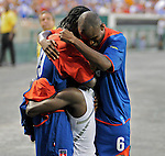 08 July 09: Haitian players celebrate a goal during their win against Grenada at the CONCACAF Gold Cup at RFK Stadium in Washington, DC.