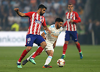 16th May 2018, Stade de Lyon, Lyon, France; Europa League football final, Marseille versus Atletico Madrid; Diego Costa of Atletico Madrid puts pressure on Morgan Sanson of Marseille