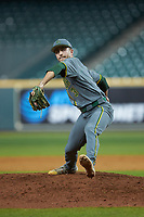 Baylor Bears relief pitcher Daniel Caruso (31) in action against the Arkansas Razorbacks in game nine of the 2020 Shriners Hospitals for Children College Classic at Minute Maid Park on March 1, 2020 in Houston, Texas. The Bears defeated the Razorbacks 3-2. (Brian Westerholt/Four Seam Images)