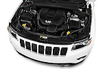 Car Stock 2015 JEEP GRAND CHEROKEE Limited 5 Door SUV 4WD Engine high angle detail view