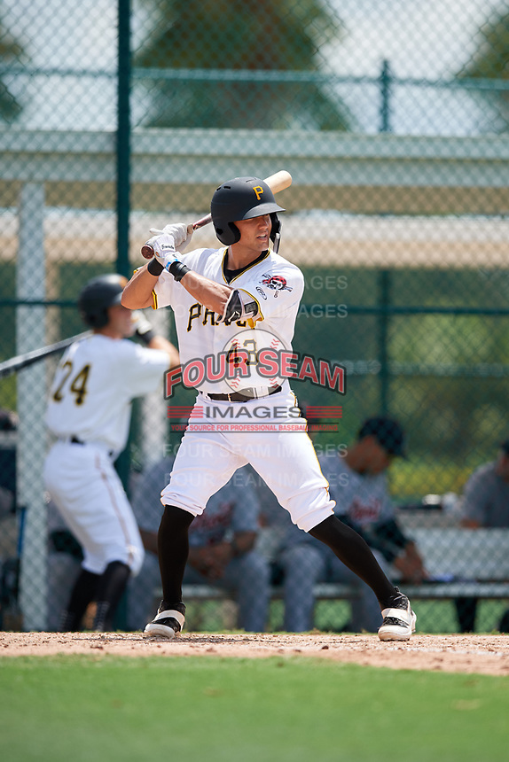 GCL Pirates catcher Ryan Haug (43) at bat during a game against the GCL Tigers West on August 13, 2018 at Pirate City Complex in Bradenton, Florida.  GCL Tigers West defeated GCL Pirates 5-1.  (Mike Janes/Four Seam Images)
