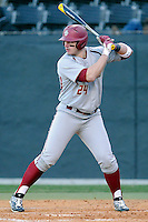 Right fielder Chris Shaw (24) of the Boston College Eagles bats in a game against the Wofford College Terriers on Friday, February 13, 2015, at Russell C. King Field in Spartanburg, South Carolina. Wofford won, 8-4. (Tom Priddy/Four Seam Images)