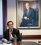 WATERBURY, CT-121817JS09---Jim Smith, Chairman and CEO of Webster Bank, sitting in front of a portrait of his father, Harold Webster Smith, talks about the bank's history as he prepares to retire at the first of the year. <br /> John Ciulla, current president of Webster Financial Corp., will succeed Smith starting January 1, 2018.<br /> Jim Shannon Republican-American