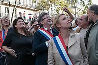 RAQUEL GARRIDO, JEAN-LUC MELENCHON, CLEMENTINE AUTAIN - MANIFESTATION DE LA FRANCE INSOUMISE A PARIS, FRANCE, LE 23/09/2017.