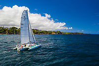 Sailing at Honoli'i Beach Park and Bay, Big Island.