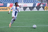 FOXBOROUGH, MA - JULY 4: Abdi Mohamed #26 of Greenville Triumph SC during a game between Greenville Triumph SC and New England Revolution II at Gillette Stadium on July 4, 2021 in Foxborough, Massachusetts.