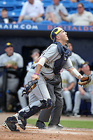 Zach Johnson #25 of the Michigan Wolverines vs the New York Mets in an exhibition game at Digital Domain Ballpark in Port St Lucie, Florida;  February 27, 2011.  New York defeated Michigan 7-1.  Photo By Mike Janes/Four Seam Images