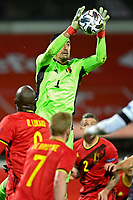 15th November 2020; Leuven, Belgium;  Thibaut Courtois goalkeeper of Belgium grabs the ball during the UEFA Nations League match group stage final tournament - League A - Group 2 between Belgium and England
