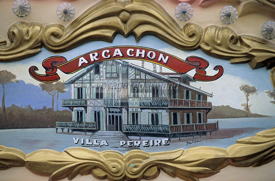 Europe/France/Aquitaine/33/Gironde/Bassin d'Arcachon/Arcachon/Le Moulleau: Détail du décor d'un manège représentant la villa Pereire à Arcachon