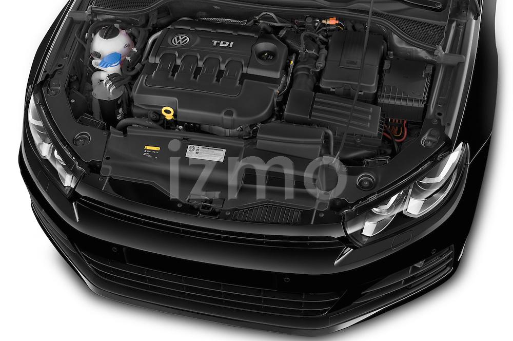 Car Stock 2015 Volkswagen SCIROCCO R 3 Door Hatchback 2WD Engine high angle detail view