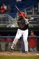 Batavia Muckdogs designated hitter Lazaro Alonso (19) at bat during a game against the Auburn Doubledays on September 6, 2017 at Dwyer Stadium in Batavia, New York.  Auburn defeated Batavia 6-3.  (Mike Janes/Four Seam Images)