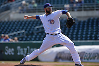 Iowa Cubs starting hurler Stephen Fife (34) throws during the game against the New Orleans Zephyrs at Principal Park on April 13, 2016 in Des Moines, Iowa.  The Cubs won 9-5 .  (Dennis Hubbard/Four Seam Images)