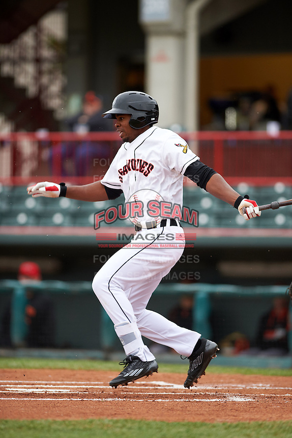 Erie Seawolves outfielder Wynton Bernard (36) at bat during a game against the Richmond Flying Squirrels on May 19, 2015 at Jerry Uht Park in Erie, Pennsylvania.  Richmond defeated Erie 8-5.  (Mike Janes/Four Seam Images)