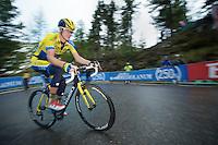 Michael Rogers (AUS/Tinkoff-Saxo) in the last km up to the Val Martello finish (2059m)<br /> <br /> 2014 Giro d'Italia <br /> stage 16: Ponte di Legno - Val Martello (139km)