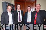 Pictured at the Fealebridge and Headley's Bridge Co-Op 45th Annual Social at the Devon Inn hotel, Templeglantine on Friday night were L-R: Joe Browne, Abbeyfeale, John Shearan, Duagh, William Clifford, Abbeyfeale and John Shearan, Duagh.