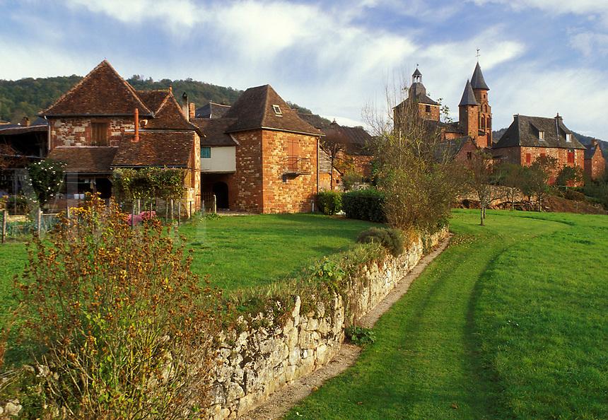 Dordogne, Perigord, France, Limousin, Correze, Collonges-la-Rouge, Europe, Scenic view of the medieval village of Collonges-la-Rouge made entirely of bright red sandstone.