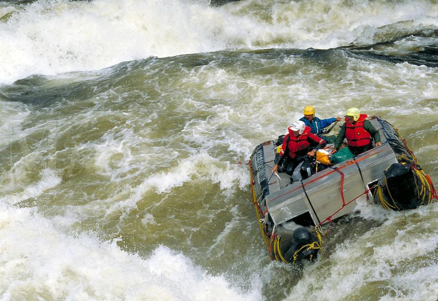 Expedition raft running a class 5 rapid on the Ruppert River. Mistassanni Quebec Canada Ruppert River.