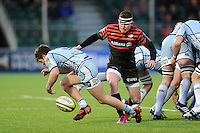 20130127 Copyright onEdition 2013©.Free for editorial use image, please credit: onEdition..Ben Spencer of Saracens (right) hassles Lewis Jones of Cardiff Blues during the LV= Cup match between Saracens and Cardiff Blues at Allianz Park on Sunday 27th January 2013 (Photo by Rob Munro)..For press contacts contact: Sam Feasey at brandRapport on M: +44 (0)7717 757114 E: SFeasey@brand-rapport.com..If you require a higher resolution image or you have any other onEdition photographic enquiries, please contact onEdition on 0845 900 2 900 or email info@onEdition.com.This image is copyright onEdition 2013©..This image has been supplied by onEdition and must be credited onEdition. The author is asserting his full Moral rights in relation to the publication of this image. Rights for onward transmission of any image or file is not granted or implied. Changing or deleting Copyright information is illegal as specified in the Copyright, Design and Patents Act 1988. If you are in any way unsure of your right to publish this image please contact onEdition on 0845 900 2 900 or email info@onEdition.com