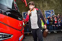 Alisson Becker of Liverpool (13) arriving before the Premier League match between Brighton and Hove Albion and Liverpool at the American Express Community Stadium, Brighton and Hove, England on 12 January 2019. Photo by Edward Thomas / PRiME Media Images.