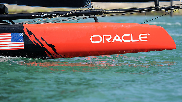 Oracle Team USA, JULY 23, 2016 - Sailing: Close up of the bow of Oracle Team USA during day one of the Louis Vuitton America's Cup World Series racing, Portsmouth, United Kingdom. (Photo by Rob Munro/Stewart Communications)