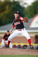 Batavia Muckdogs pitcher Kyle Keller (41) delivers a pitch during the second game of a doubleheader against the Mahoning Valley Scrappers on July 2, 2015 at Dwyer Stadium in Batavia, New York.  Mahoning Valley defeated Batavia 3-0.  (Mike Janes/Four Seam Images)