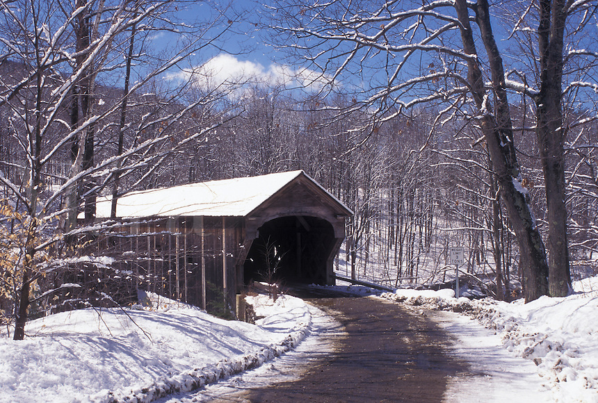 covered bridge, Vermont, VT, Downers Covered Bridge ca. 1840 on a country road in Downers in the snow in winter.
