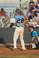 Kai Henson (28) (Mt Island Charter HS) of the Dry Pond Blue Sox at bat against the Mooresville Spinners at Moor Park on July 2, 2020 in Mooresville, NC.  The Spinners defeated the Blue Sox 9-4. (Brian Westerholt/Four Seam Images)