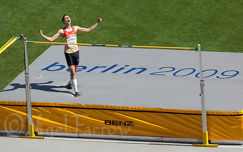 19 AUG 2009 - BERLIN, GER - Raul Spank (GER) celebrates clearing the bar during his High Jump Qualifying heat at the World Athletics Championships (PHOTO (C) NIGEL FARROW)