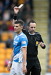 St Johnstone v Partick Thistle…29.10.16..  McDiarmid Park   SPFL<br />Graham Cummins is booked by referee Barry Cook<br />Picture by Graeme Hart.<br />Copyright Perthshire Picture Agency<br />Tel: 01738 623350  Mobile: 07990 594431