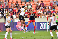 Houston, TX - Sunday Oct. 09, 2016: Jessica McDonald, Megan Oyster during the National Women's Soccer League (NWSL) Championship match between the Washington Spirit and the Western New York Flash at BBVA Compass Stadium.