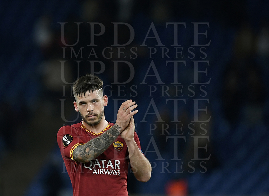 Football Soccer: UEFA Europa League round of 32 first leg AS Roma vs KAA Gent, Olympic stadium, Rome, 20 February, 2020.<br /> Roma's Carles Pérez celebrates after winning 1-0 the Europa League football match between Roma and Gent at the Olympic stadium in Rome on 20 February, 2020.<br /> UPDATE IMAGES PRESS/Isabella Bonotto