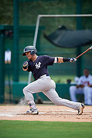 GCL Yankees West first baseman Jesus Graterol (31) follows through on a swing during the second game of a doubleheader against the GCL Braves on July 30, 2018 at Champion Stadium in Kissimmee, Florida.  GCL Braves defeated GCL Yankees West 5-4.  (Mike Janes/Four Seam Images)