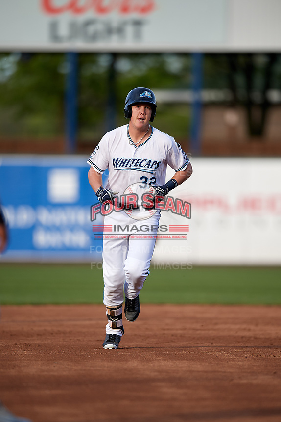 West Michigan Whitecaps third baseman Josh Lester (32) rounds the bases after hitting a home run in the bottom of the second inning during a game against the Clinton LumberKings on May 3, 2017 at Fifth Third Ballpark in Comstock Park, Michigan.  West Michigan defeated Clinton 3-2.  (Mike Janes/Four Seam Images)