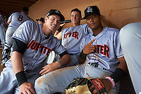 Jupiter Hammerheads Ryan Aper (left), Brian Schales (center) and John Norwood (right) in the dugout for a rain delay during a game against the Lakeland Flying Tigers on March 14, 2016 at Henley Field in Lakeland, Florida.  Lakeland defeated Jupiter 5-0.  (Mike Janes/Four Seam Images)