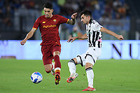23rd September 2021;  Stadio Olimpicom, Roma, Italy; Serie A League Football, Roma versus Udinese; Roger Ibañez of AS Roma breaks away from a tackle