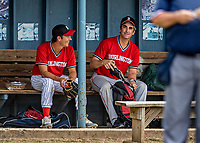 15 September 2019: Burlington Mayor and Cardinal infielder Miro Weinberger prepares his gear in the dugout during a playoff game against the Waterbury Warthogs at Burlington High School in Burlington, Vermont. The Warthogs edged out the Cardinals 2-1 in post season play. Mandatory Credit: Ed Wolfstein Photo *** RAW (NEF) Image File Available ***