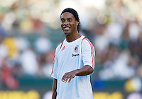 AC Milan star forward Ronaldinho warming up. AC Milan played the LA Galaxy to a 2-2 tie in an International friendly match at Home Depot Center stadium in Carson, California on Sunday July 19, 2009. .