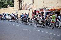 Jaipur, Rajasthan, India.  Tourist Caravan of Three-wheeled Bicycle Rickshaws.