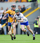 William Halpin of Clare  in action against Sam Fitzgerald of Waterford during their Munster  championship round robin game at Cusack Park Photograph by John Kelly.
